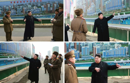 Kim Jong Un issues instructions about the construction Mirae Scientists Street in Pyongyang (Photo: Rodong Sinmun).