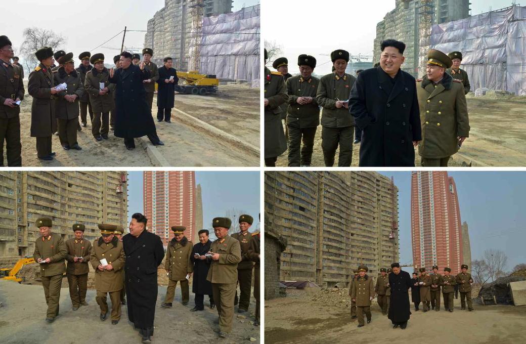 Kim Jong Un tours the construction of Mirae Scientists Street in Pyongyang (Photo: Rodong Sinmun).
