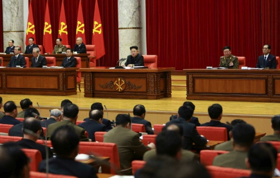 View of the platform at the WPK Central Committee #1 Office Building in Pyongyang, the venue for the February 18, 2015 expanded meeting of the WPK Political Bureau (Photo: Rodong Sinmun).