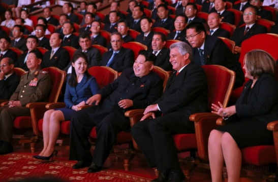 Kim Jong Un talks with Cuban Vice President Miguel Díaz-Canel Bermúdez (second from right) at the concert.  Also in attendance are KPA General Political Department Director VMar Hwang Pyong So (second from the left) and Jong Un's wife Ri Sol Ju (third from the left) (Photo: Rodong Sinmun).