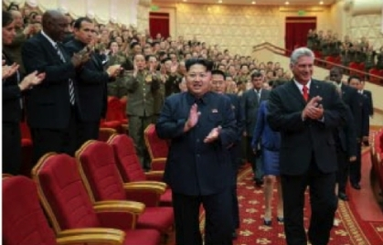 Kim Jong Un and Cuban Vice Preisdent Miguel Díaz-Canel Bermúdez (right) arrive at the venue of a concert held to mark the 55th anniversary of diplorels between the DPRK and Cuba (Photo: Rodong Sinmun/KCNA).