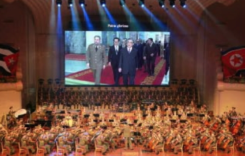 A view of a screen projecting showing film footage of Fidel Castro and late DPRK President and founder Kim Il-so'ng during Castro's 1986 visit to the DPRK (Photo: Rodong Sinmun).