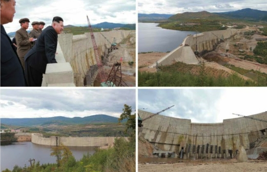 Kim Jong Un inspects a dam and other parts of the Paektusan Youth Power Station (Photo: Rodong Sinmun).