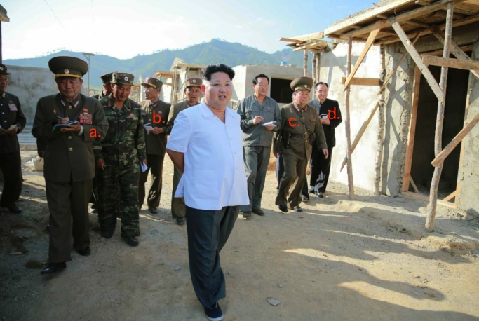 Kim Jong Un tours flood recovery efforts in Raso'n. Also in attendance are Gen. Pak Yong Sik (a.). Lt. Gen. Ryom Chol Song (b.) Jong Un's head of security (c.) and Jo Yong Won (d.) (Photo: Rodong Sinmun).