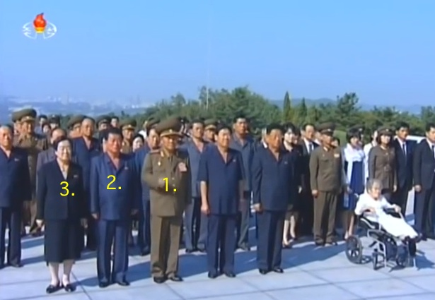 Minister of the People's Armed Forces Gen. Pak Yong Sik (1.), senior DPRK officials and the family of Ryu Kyong Su (1915-1958) stand before Ryu's memorial bust at the Revolutionary Martyrs' Cemetery. Also in attendance are WPK Secretary for Light Industry O Su Yong (2), Director of the WPK Party History Institute Kim Jong Im (3) and deputy director of the WPK Finance and Accounting Department Jon Il Chun (second row, left) (Photo: KCTV).