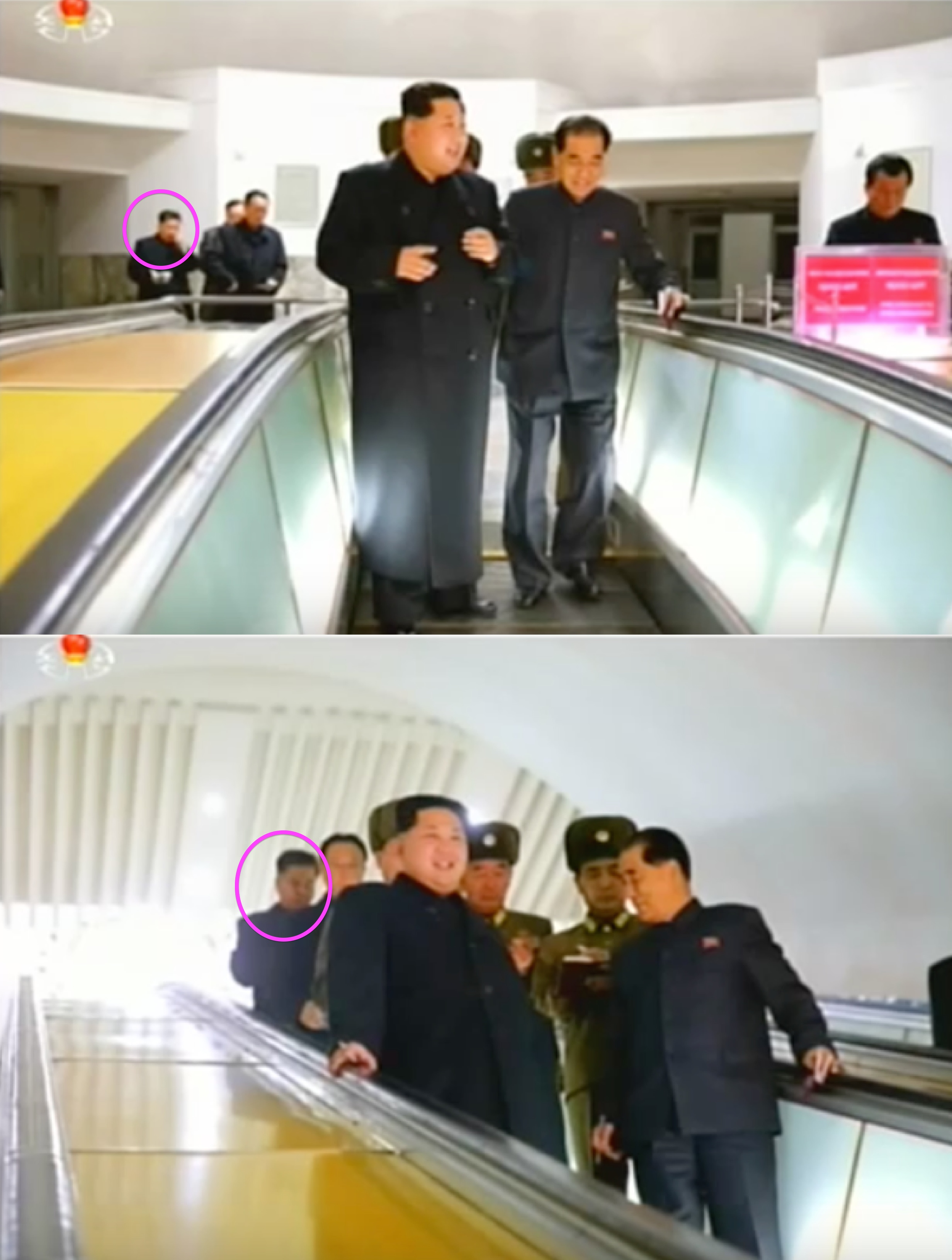 Han Kwang Sang (annotated) attends Jong Un's test riding of a new subway car in central Pyongyang on November 19, 2015 (Photos: KCTV).
