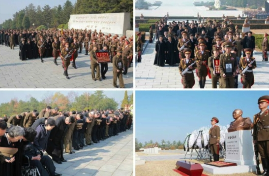MAR Ri Ul Sol's casket is conveyed through Revolutionary Martyrs' Cemetery in Pyongyang on November 11, 2015 (Photo: Rodong Sinmun).