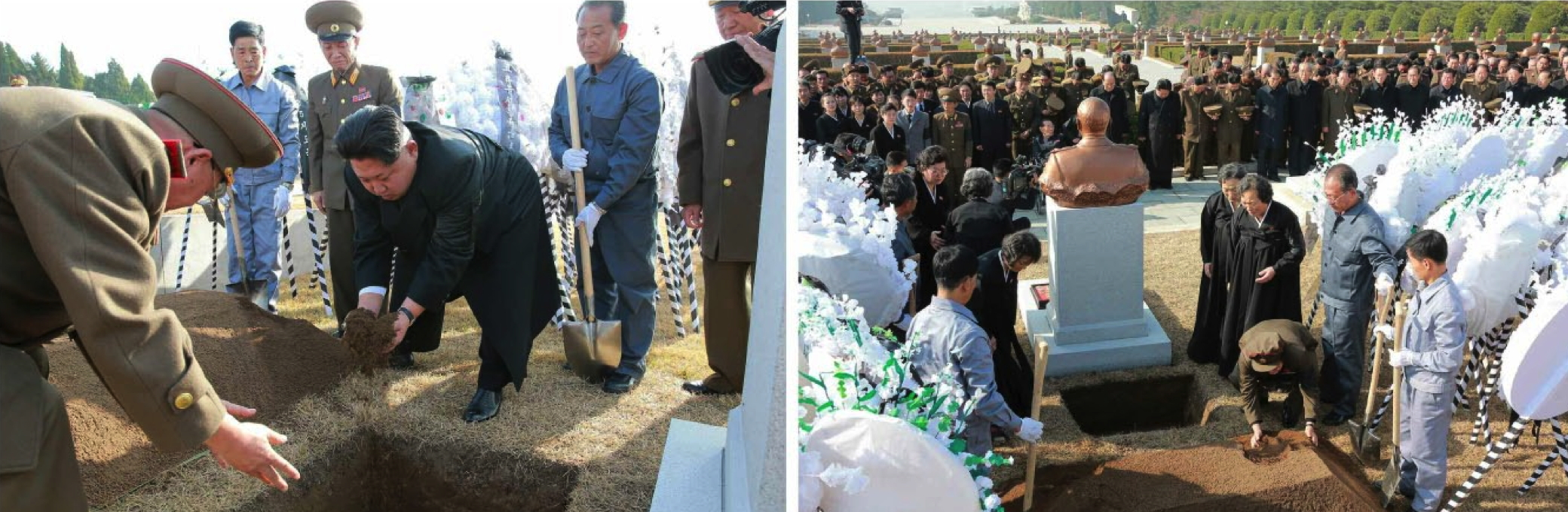 Kim Jong Un, members of Ri Ul Sol's family and members of the state funeral committee cover Ri's casket in dirt during an interment ceremony at Revolutionary Martyrs' Cemetery in Pyongyang on November 11, 2015 (Photos: Rodong Sinmun).