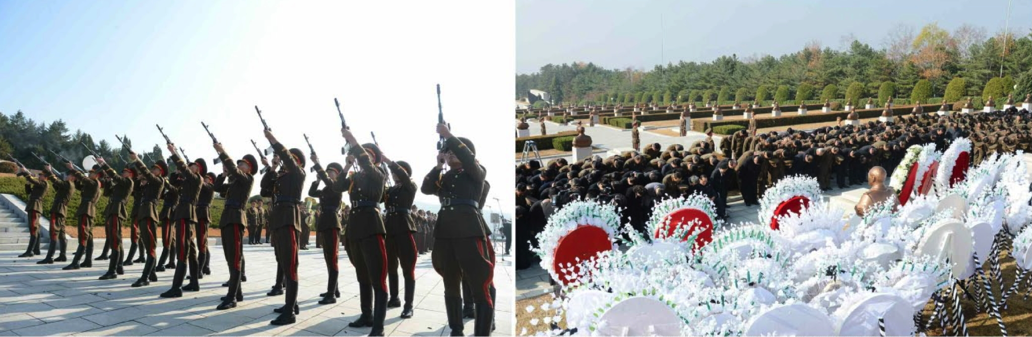 An honor guard fires rifles (left) and floral wreaths are placed during an interment ceremony for Ri Ul Sol at Revolutionary Martyrs' Cemetery in Pyongyang on November 11, 2015 (Photo: Rodong Sinmun).