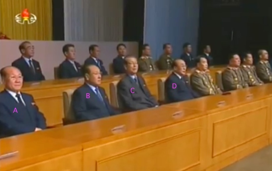 Leadership platform at a meeting commemorating the 70th anniversary of the DPRK's procuratorial and judicial organ at Ponghwa Art Theater in Pyongyang on November 19, 2015. In attendance are DPRK Public Prosecutor's Office Director Jang Pyong Gyu [A], WPK Organization Guidance Department Senior Deputy Director Jon Yon Jun [B], WPK Secretary and SPA Chairman Choe Tae Bok [C] and SPA Presidium Vice President Yang Hyong Sop [D] (Photo: KCTV).
