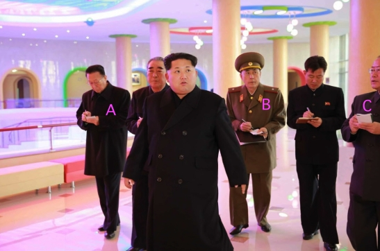 Kim Jong Un tours the renovated Mangyo'ngdae Schoolchildren's Palace in west Pyongyang. Also in attendance are Kim Yang Gon [A], Ma Won Chun [B] and Ri Il Hwan [C] (Photo: Rodong Sinmun).
