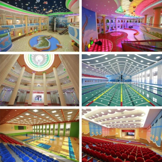 Overview of the renovation of Mangyo'ngdae Schoolchildren's Palace in Pyongyang (Photos: Rodong Sinmun/KCNA).