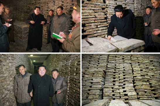 Kim Jong Un inspects a storage facility and products of the August 25 Fishery Station (Photo: Rodong Sinmun).