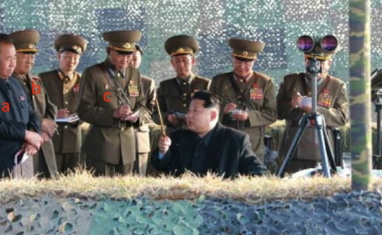 Kim Jong Un is briefed about the anti-air rocket drills. Also in attendance are: Ri Pyong Chol (a); Col. Gen. Yun Tong Hyon (b); and, Gen. Choe Yong Ho (c] (Photo: Rodong Sinmun).