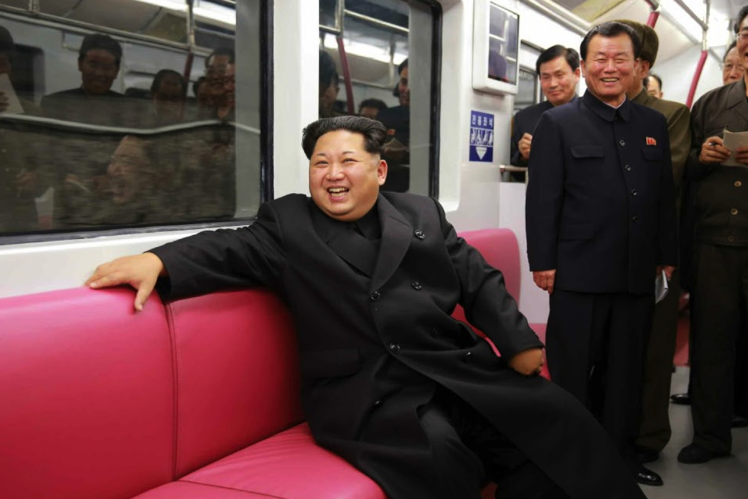 Kim Jong Un sits on a subway car during a test ride on the Pyongyang Metro on November 19, 2015 (Photo: Rodong Sinmun).