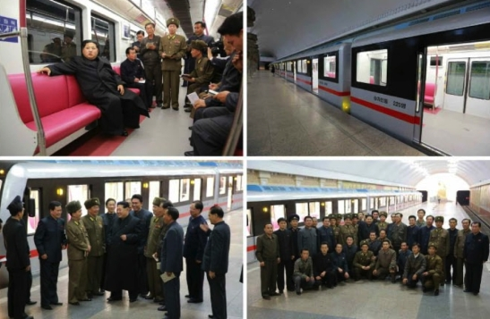 Kim Jong Un rides a newly developed subway car in Pyongyang on November 19, 2015 (Photo: Rodong Sinmun).