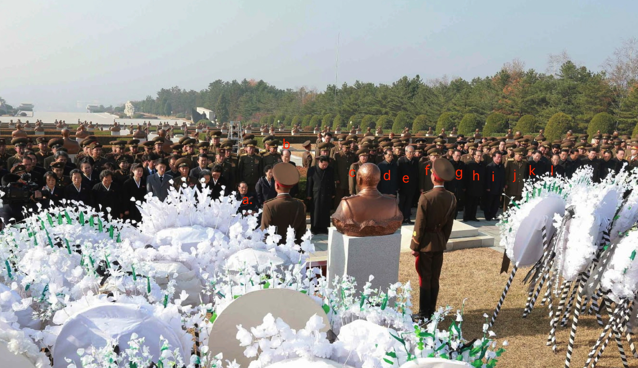 DPRK leadership attending Ri Ul Sol's interment ceremony: a. Kim Chol Man (Member, WPK Central Committee; former Chairman Second Economic Committee); b. Kim Yong Nam (SPA Presidium President); c. Gen. Ri Yong Gil (Chief of the KPA General Staff) ; d. Pak Pong Ju (DPRK Premier); e. Kim Ki Nam (WPK Secretary of Propaganda and Agitation); f. Gen. Kim Wo'n-hong (Minister of State Security); g. Kim Yang Gon (WPK Secretary for the United Front); h. Kwak Pom Gi (WPK Secretary for Planning and Finance); i. O Su Yong (WPK Secretary for Light Industry); j. Col. Gen. Choe Pu Il (Minister of the People's Security); k. Ro Tu Chol (Chairman of the State Planning Commission; and, l. Jo Yon Jun (Senior Deputy Director of the WPK Organization Guidance Department) (Photo: Rodong Sinmun).