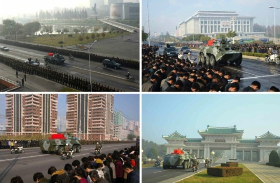 The body of Ri Ul Sol is conveyed through the streets of Pyongyang to the gates of the Revolutionary Martyrs' Cemetery (bottom right) on November 11, 2015 (Photo: Rodong Sinmun).