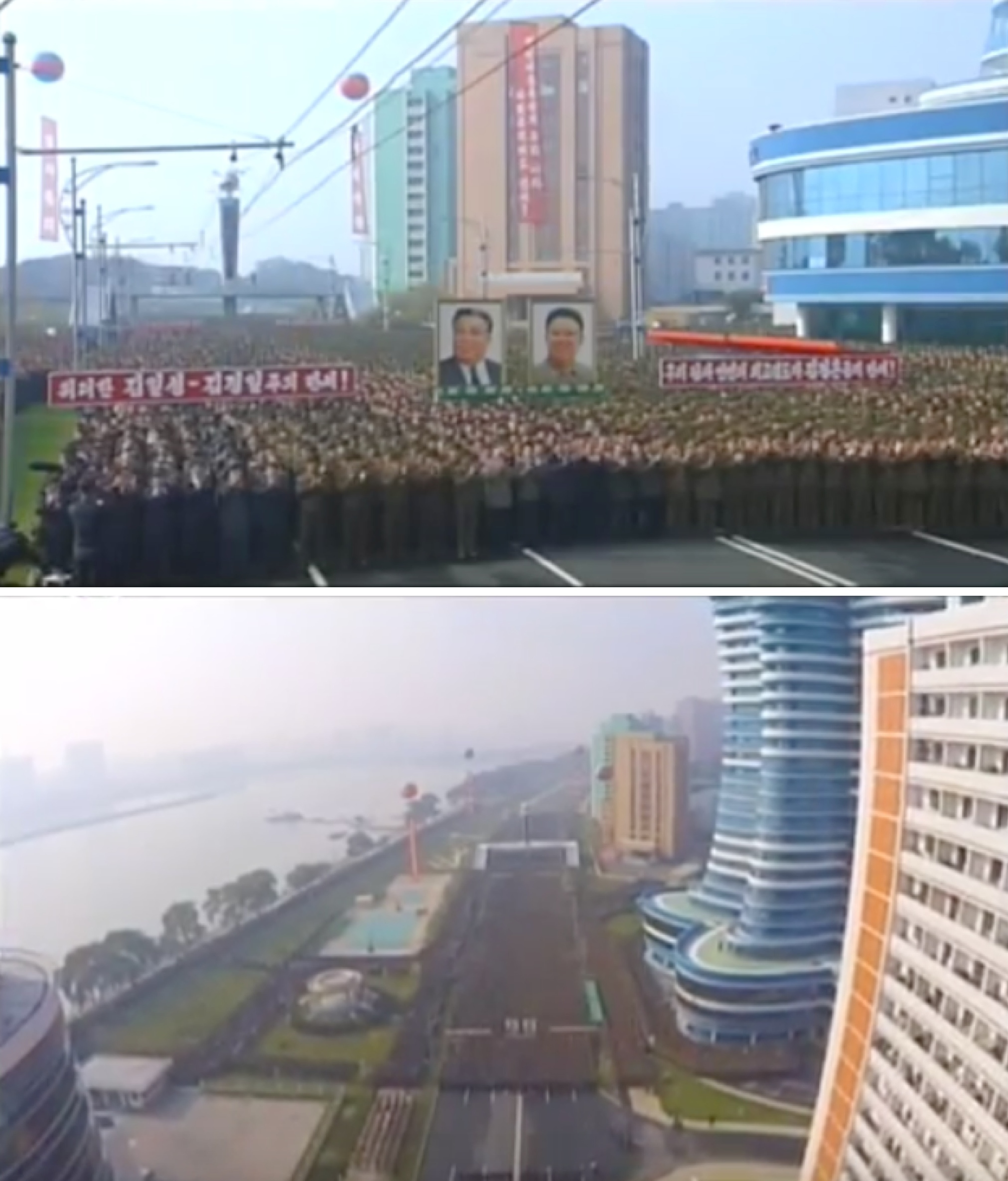 Overview of a ceremony opening the Mirae Scientists' Street residential area in Pyongyang on November 3, 2015 (Photos: KCTV).