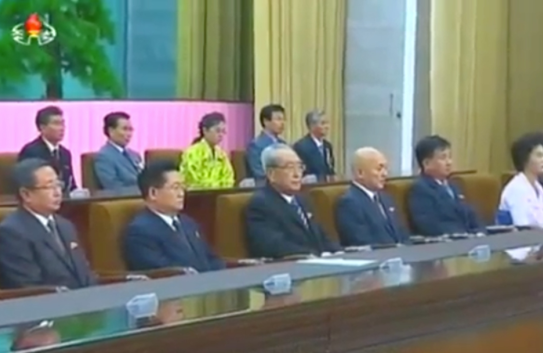 View of the rostrum at a November 2 meeting marking the 70th anniversary of Rodong Sinmun (Photo: KCTV)