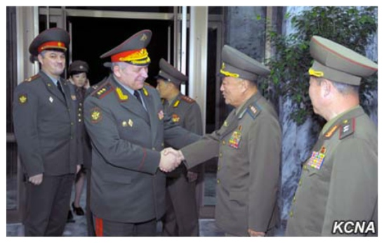 Russian Federation Armed Forces 1st Vice Chief of the General Staff Col. Gen. Nikolai Bogdanovski shakes hands with Vice Chief of the KPA General Staff Col. Gen. O Kum Chol in Pyongyang on November 12, 2015 (Photo: KCNA).