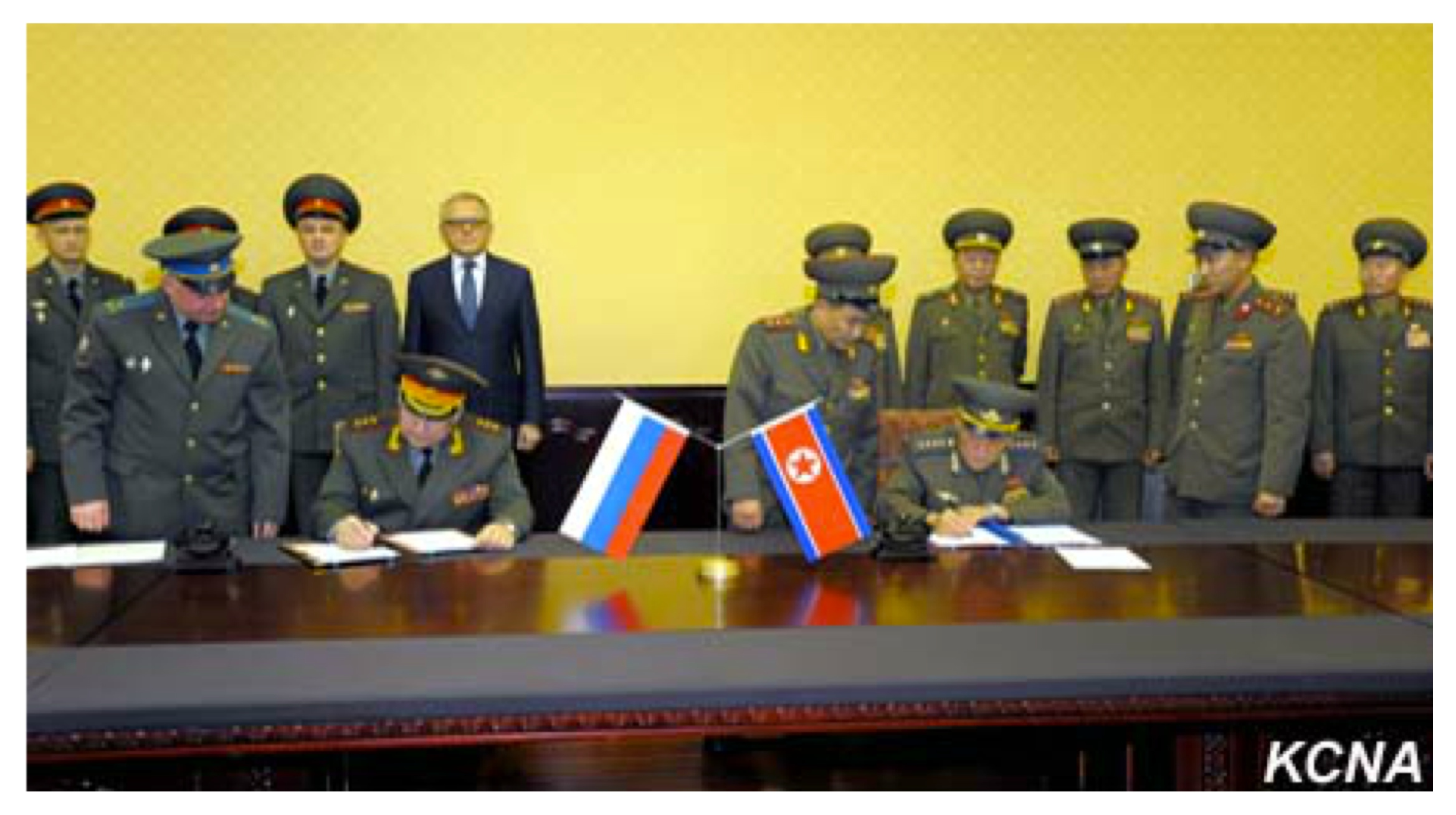 "Russian Federation Armed Forces 1st Vice Chief of the General Staff Col. Gen. Nikolai Bogdanovski (left) and Vice Chief of the KPA General Staff Col. Gen. O Kum Chol (right) sign an agreement on what Russian media said is ""the prevention of dangerous military activity"" (Photo: KCNA)."