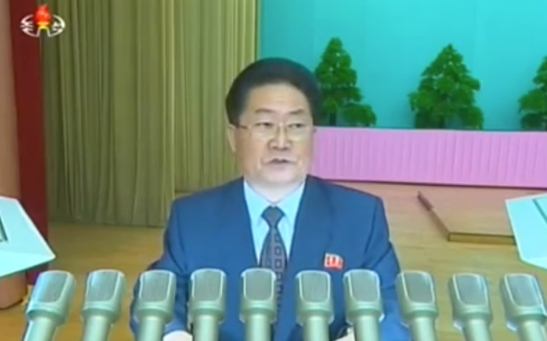 Ri Yong Sik, editor-in-chief of Rodong Sinmun, delivers the anniversary report (Photo: KCTV).