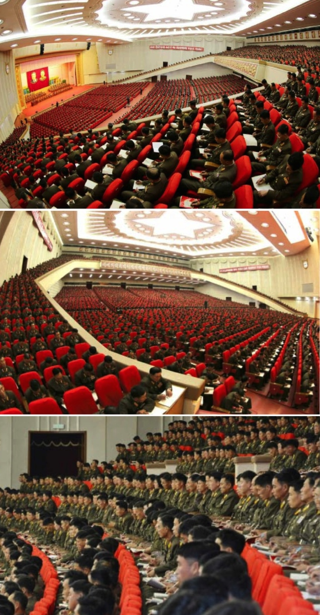 Participants at the 7th National Meeting of Military Education Officers, held at the April 25 House of Culture on November 3 and November 4, 2015 (Photos: Rodong Sinmun).