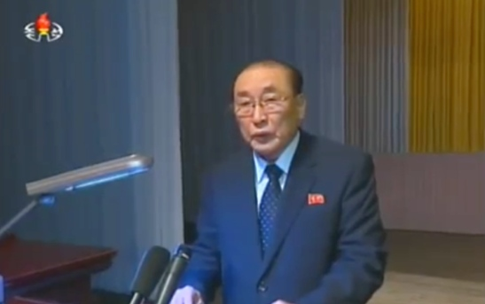 SPA Presidium Vice President and WPK Political Bureau Member Yang Hyong Sop delivers the meeting report (Photo: KCTV).