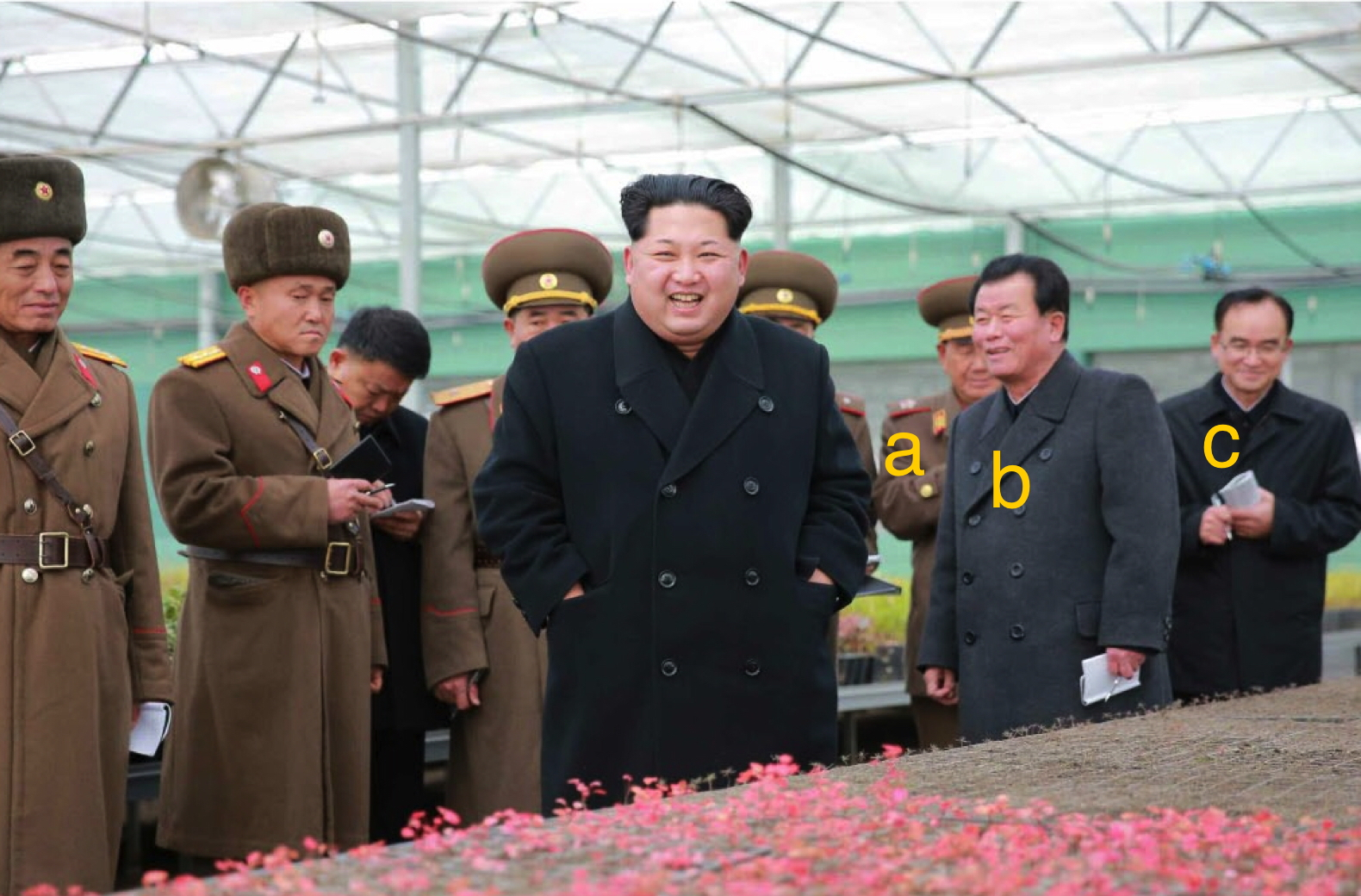 Kim Jong Un tours a greenhouse at KPA Tree Nursery #122. Also in attendance is VMar Hwang Pyong So [A], O Su Yong [B] and Jo Yong Won [C] (Photo: Rodong Sinmun).