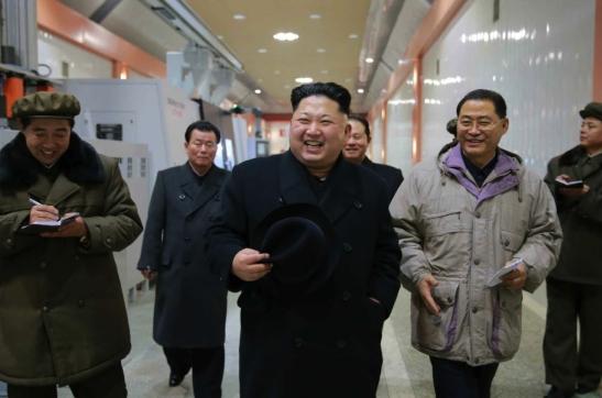 Kim Jong Un visits the January 18 General Machinery Plant in South P'yo'ngan Province (Photo: KCNA).