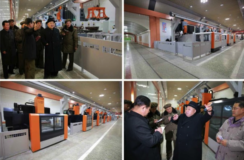 Kim Jong Un tours the January 18 General Machinery Plant (Photos: KCNA/Rodong Sinmun).
