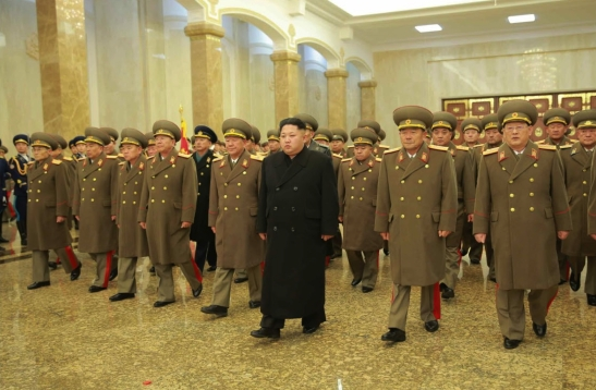 Kim Jong Un and members of the KPA high command visit Ku'msusan Palace of the Sun at midnight on December 17, 2015 (Photo: KCNA/Rodong Sinmun).