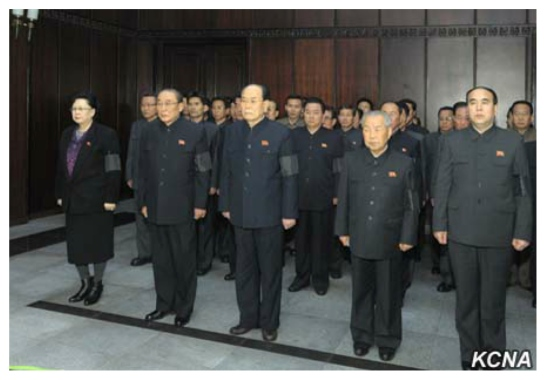 Kim Yong Nam (3rd L), SPA Presidium President and other members of the SPA Presidium pay their respects to Kim Yang Gon at the Sojang Club in Pyongyang on December 30, 2015 (Photo: KCNA).