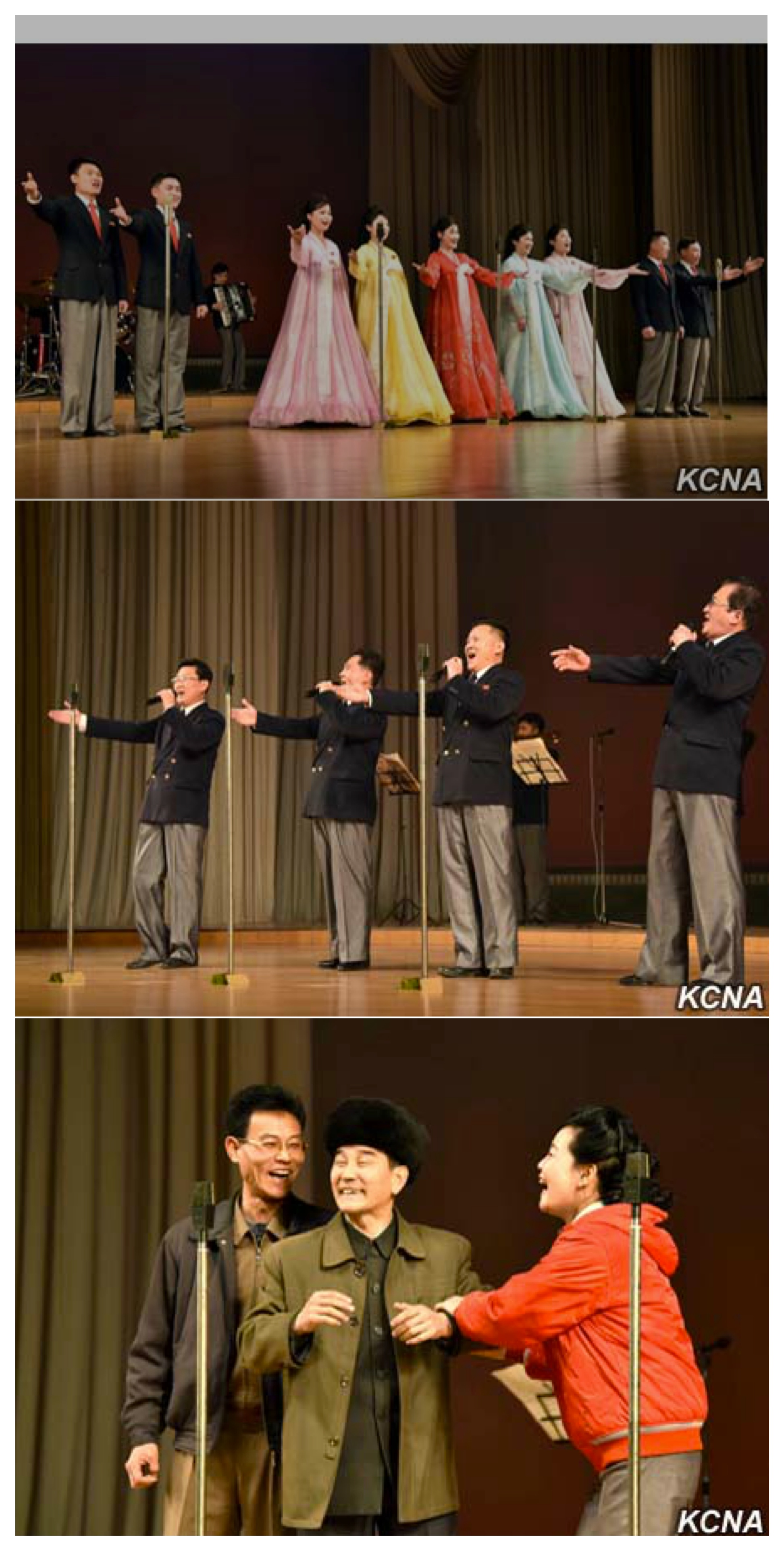 A concert marking the 70th anniversary of the Union of Agricultural Workers of Korea at the People's Palace of Culture in Pyongyang January 31, 2016 (Photos: KCNA).