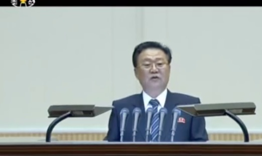 Choe Ryong Hae speaks at a meeting commemorating the 70th anniversary of the Kim Il Sung Youth League on January 16, 2016.  This was Choe's first public appearance since he was sent away for re-education in October 2015 (Photo: KCTV/NK Leadership Watch screen grab).