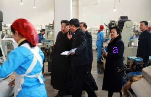 Kim Jong Un is briefed about production at Kim Jong Suk Textile Mill in Pyongyang.  Also in attendance is WPK Light Industry Department deputy director Pak Myong Sun (a) (Photo: Rodong Sinmun).