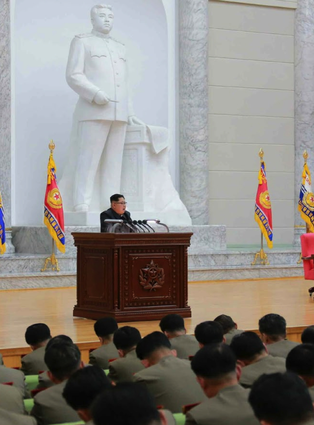 Kim Jong Un addresses senior KPA command personnel at conference room at the Ministry of People's Armed Forces (North Korea's defense ministry) (Photo: KCNA).