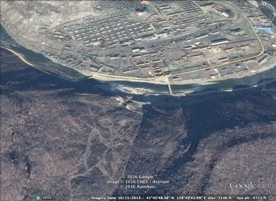 Paektusan Youth Power Station Dam #2 under development during 2013 (Photo: NK Economy Watch, Google image).