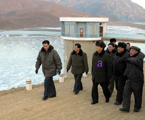 DPRK Premier Pak Pong Ju (a) tours a waterway project in Haeju, South Hwanghae Province (Photo: Rodong Sinmun).