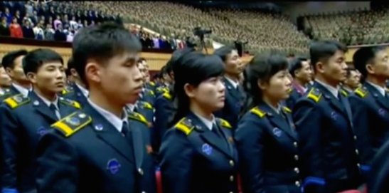 Members of the DPRK National Aerospace Development Agency attend the central report meeting (Photo: KCTV screen grab).
