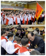Inductees of the Korean Children's Union at a February 16, 2016 ceremony in Pyongyang (top) and the induction ceremony (bottom) (Photos: KCNA).