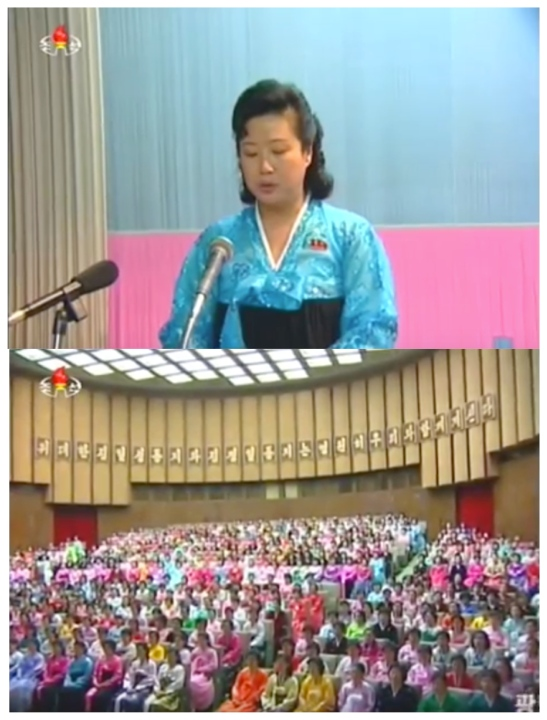 Korean Democratic Women's Union Central Committee Chairwoman delivers a report at a KDWU meeting in Pyongyang on February 11, 2016 to mark the birth anniversary of late DPRK leader Kim Jong Il (Photos: KCTV screen grabs).