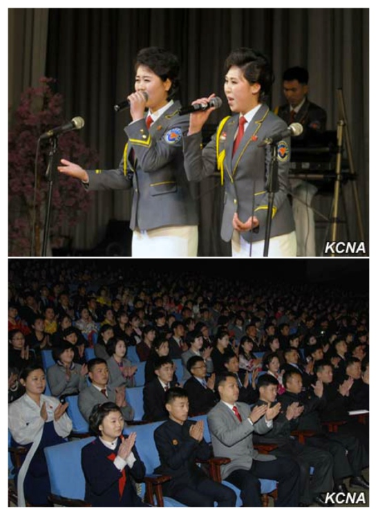 A concert by the art propaganda squad of the Kim Il Sung Youth League at the Central Youth Hall in Pyongyang on February 12, 2016 (Photos: KCNA).