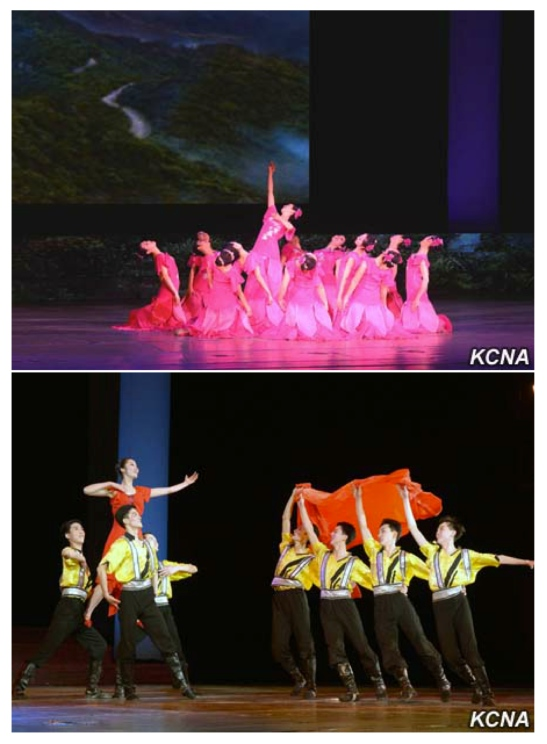 The Mansudae Art Troupe performs at East Pyongyang Grand Theater on February 16, 2016 (Photos: KCNA).