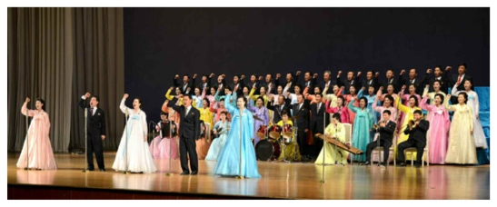 A concert by art troupes of DPRK Cabinet ministries and state commissions at the People's Palace of Culture on February 12, 2016 (Photos: Rodong Sinmun).