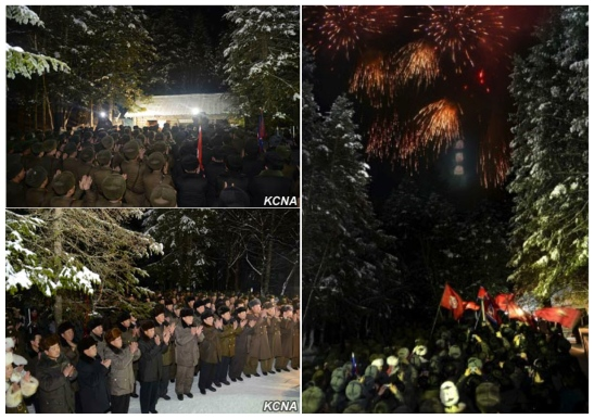 A loyalty meeting and fireworks display near KJI's official birthplace in Mt. Paektu near Samjiyo'n County, Yanggang Province on February 12, 2016 (Photos: Rodong Sinmun, KCNA).