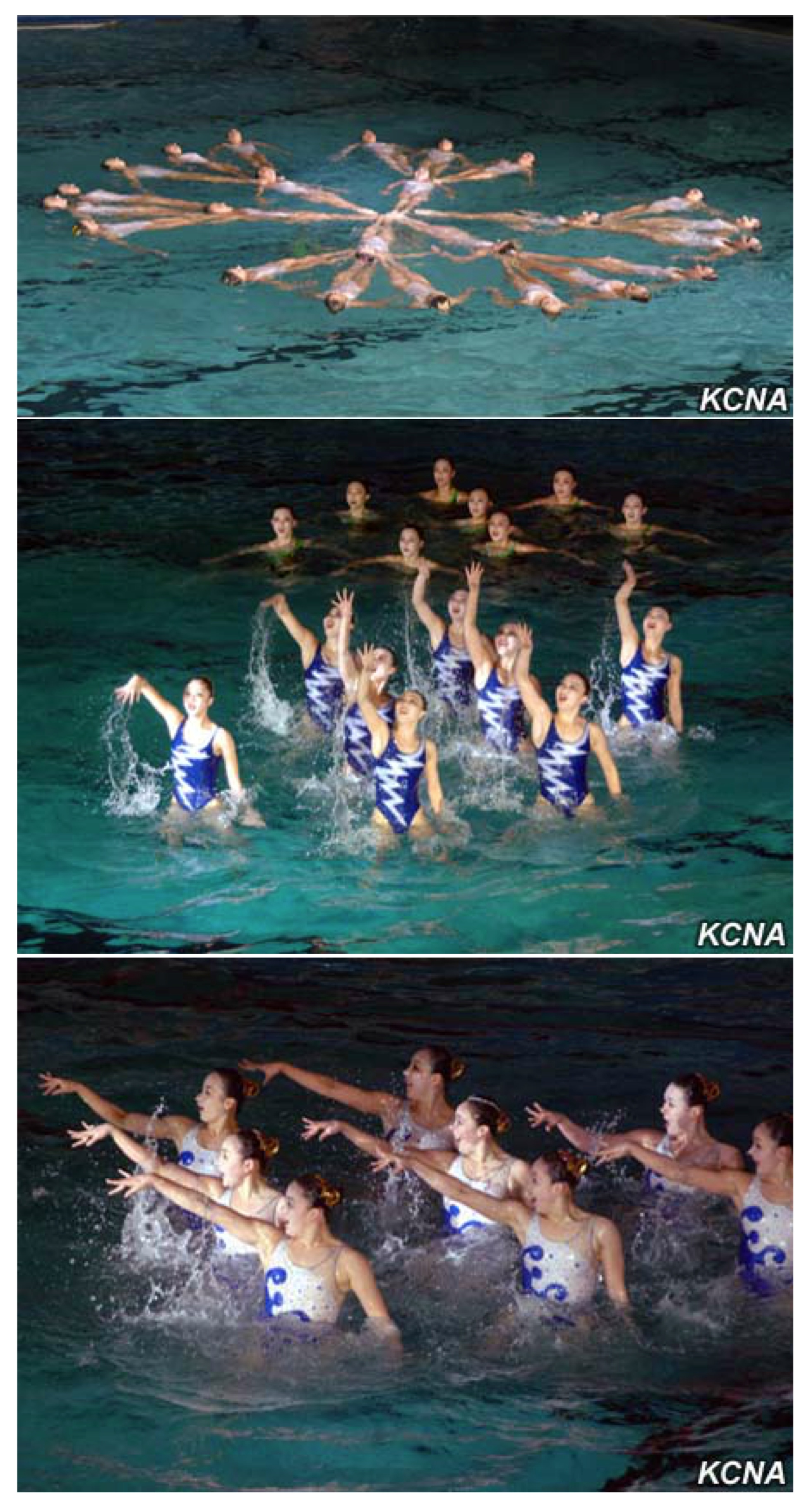 Synchronized swimmers perform at the Ch'angkwang Health Complex in central Pyongyang on February 15, 2016 (Photos: KCNA).