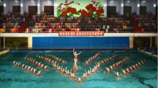 Synchronized swimmers perform at Ch'angkwang Health Complex on February 15, 2016 (Photo: Rodong Sinmun).