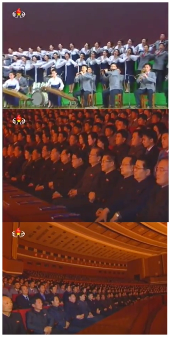 Concert by DPRK university choirs held on February 10, 2016 (Photos: KCTV screen grabs).